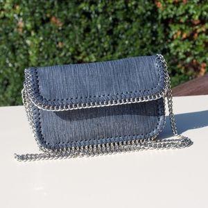 Sondra Roberts Squared Gray Metallic Chain Bag